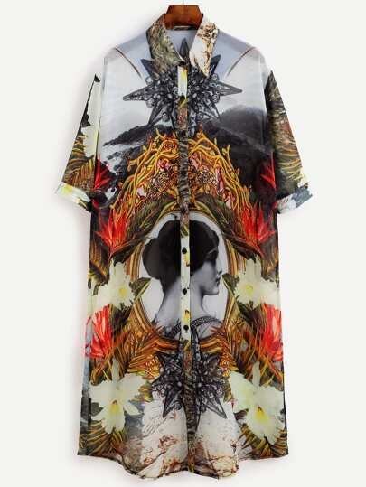 Multicolor Abstract Print Half Sleeve Shirt Dress