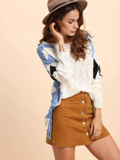 Multicolor Lace Up Side Long Sleeve Knitted T-shirt