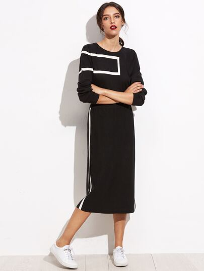 Black Round Neck Sweatshirt With Long Skirt