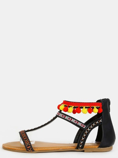 Open Toe Embroidered Tribal Sandals BLACK