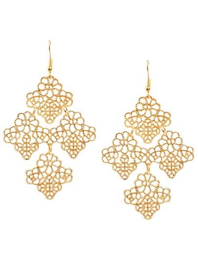 Gold Hollow Leaves Drop Earrings