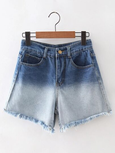Blue Raw-edge Hem Denim Shorts
