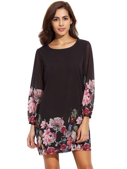Schwarze Laterne Hülse Blumenverschiebung Kleid