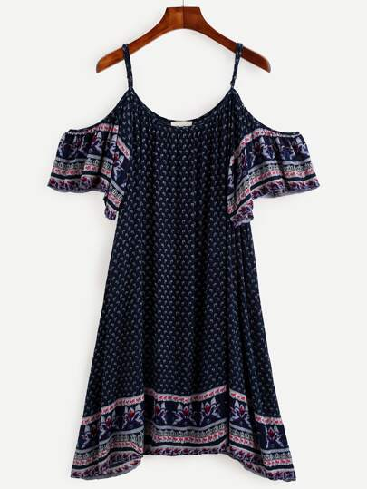 Navy Tribal Print Cold Shoulder Dress