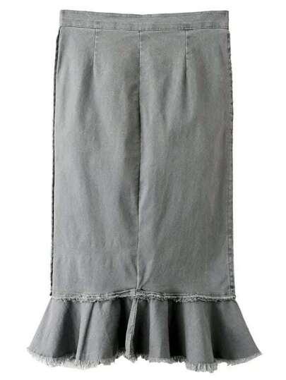 Grey Raw-edge Hem Zipper Fishtail Skirt