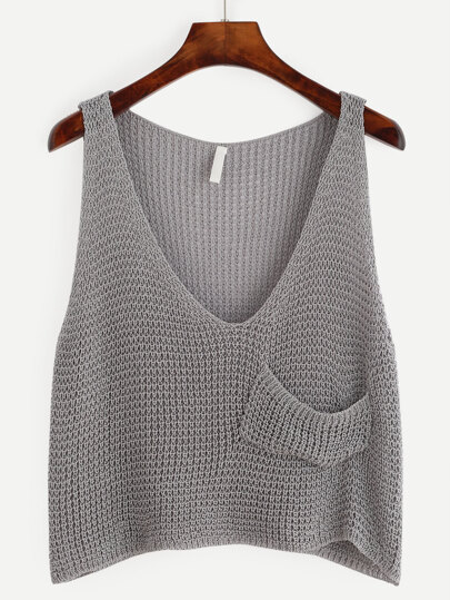 Grey Knit Crop Tank Top With Front Pocket
