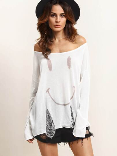 White Knitted Ripped Long Sleeve T-shirt
