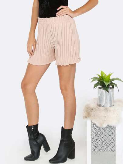 Pleated High Waist Shorts TAUPE