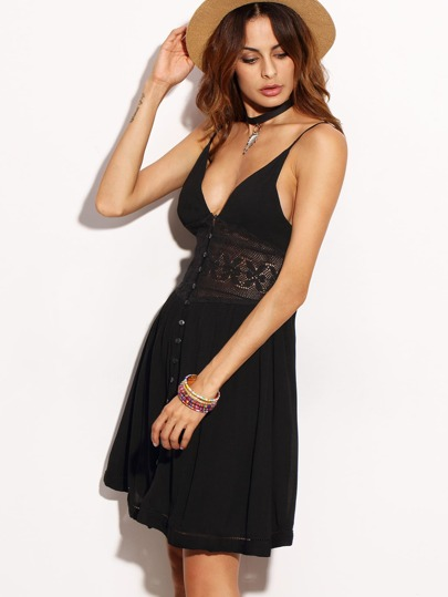 Black V Neck Spaghetti Strap Buttons Dress