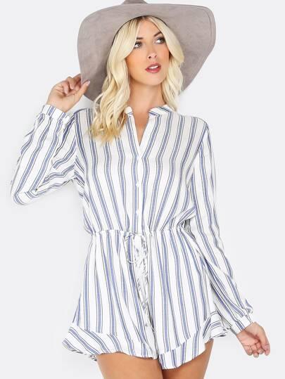 Stripe Long Sleeve Ruffle Romper WHITE
