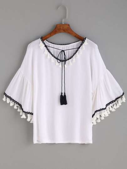 White Tassel Trim Tie Neck Bell Sleeve Blouse