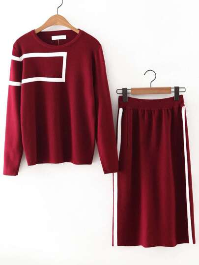 Burgundy Round Neck Sweatshirt With Long Skirt