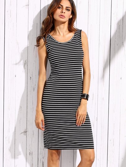 Black Striped Slit Back Tank Dress