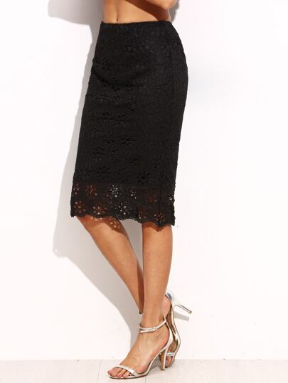 Black Lace Split Back Midi Skirt
