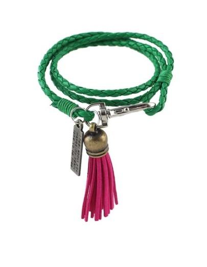 Green Pu Wrap Bracelet with Tassel
