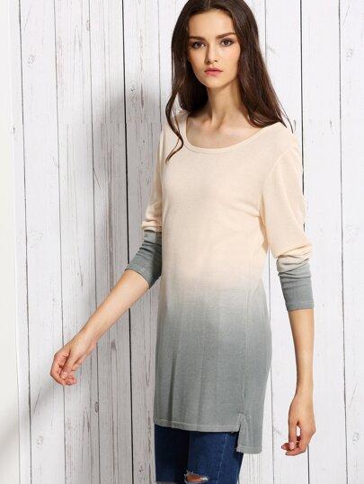 Ombre Dip Hem Knit T-shirt