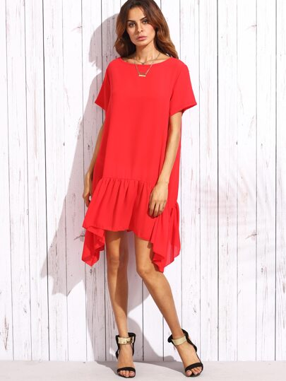 Red Ruffle Short Sleeve Asymmetrical Shift Dress