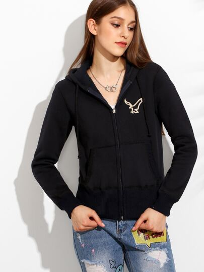 Black Zip Front Embroidered Hooded Sweatshirt