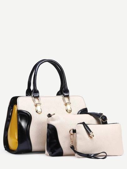 Beige Embossed Faux Leather 3PCS Bag Set