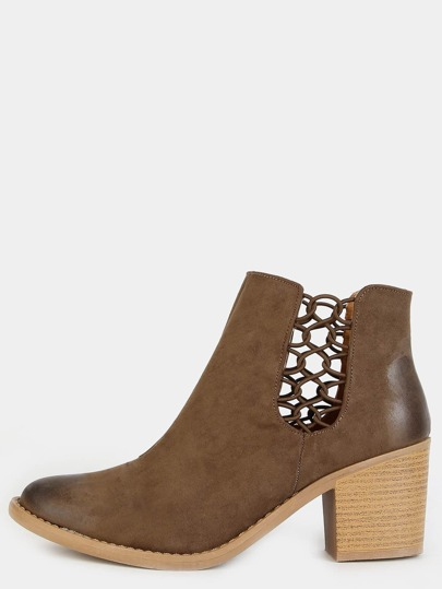 Faux Suede Chain Cut Out Booties TAUPE
