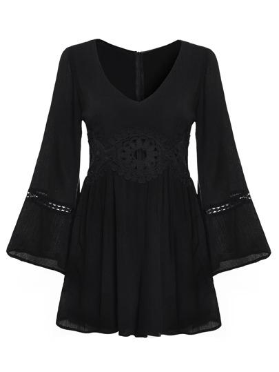 Black Crochet Hollow Out Zipper Bell Sleeve Dress