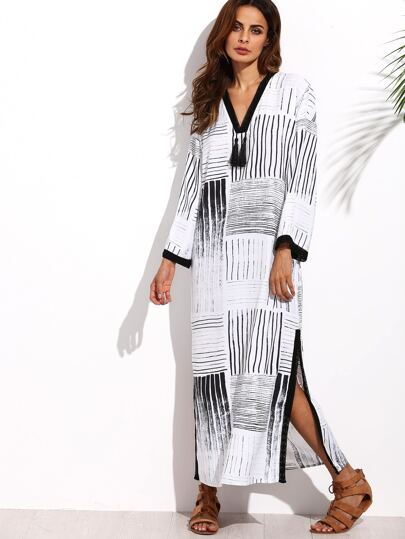 Black and White V Neck Tassel Split Side Long Dress