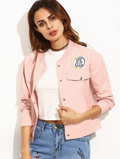 Pink Letter Print Ribbed Neck Drop Shoulder Jacket