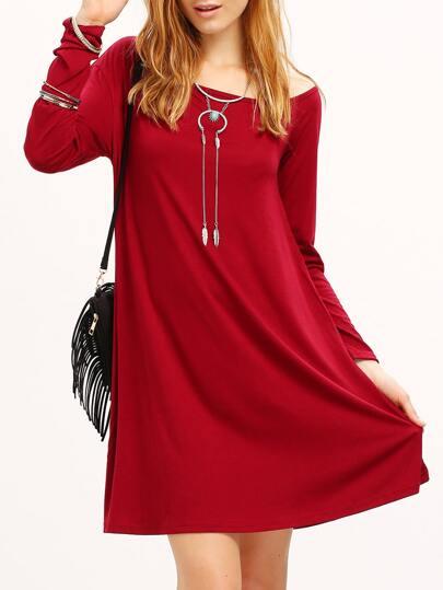 Burgundy Slash Neck Slouch Dress