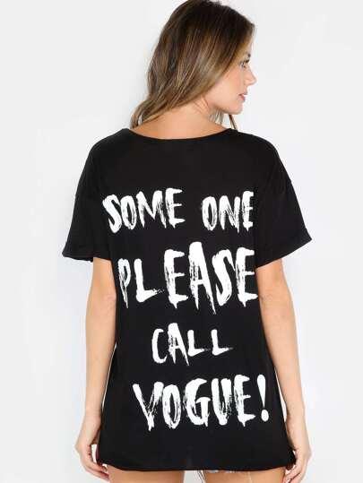 Slogan Raw Edge T-Shirt BLACK