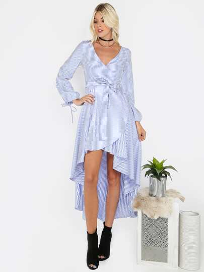 Surplice Striped Hi-Lo Dress SKY BLUE