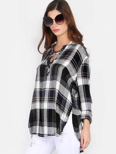 Lace Up Long Sleeve Flannel NAVY MULTI