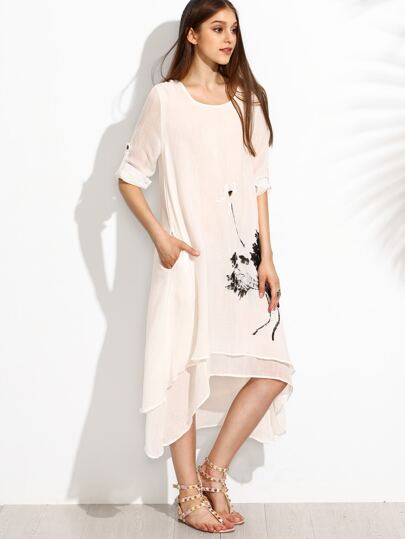 White Ink Painting Print Roll Tab Sleeve Layered Asymmetric Dress