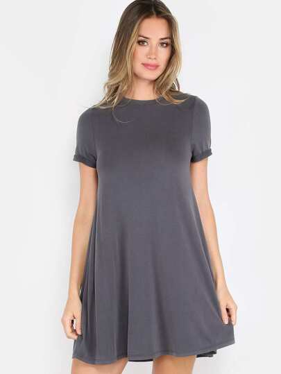 Short Sleeve Swing Dress CHARCOAL