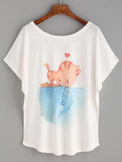 White Cat And Fish Print T-shirt