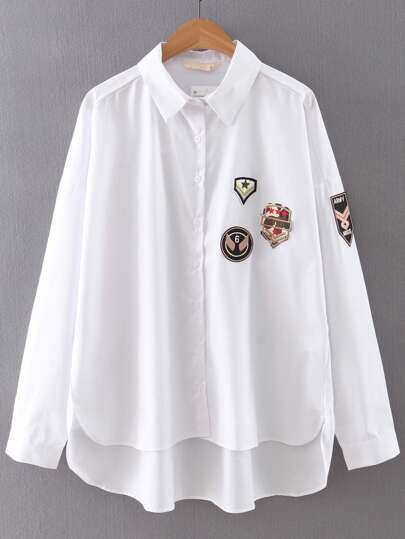 Blusa botones asimétrica aplique - blanco