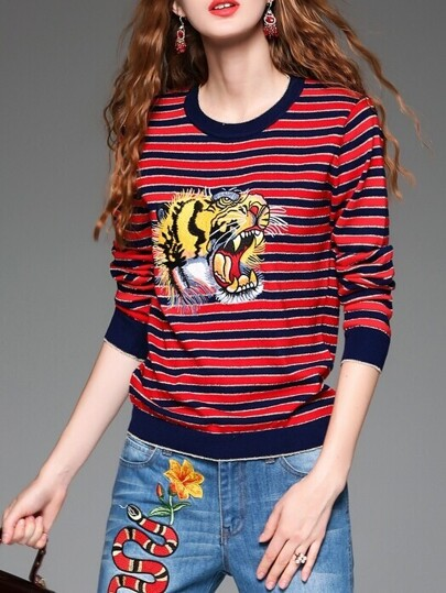 Red Navy Striped Tiger Embroidered Knit Sweatshirt