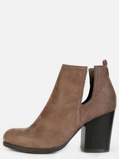 Almond Toe Suede Block Heel Boots TAUPE
