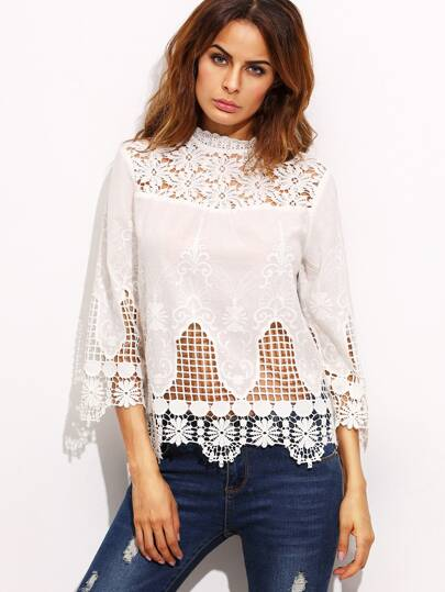 Beige High Neck Appliques Hollow Blouse