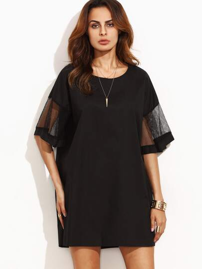 Black Drop Shoulder Mesh Sleeve Oversized Dress