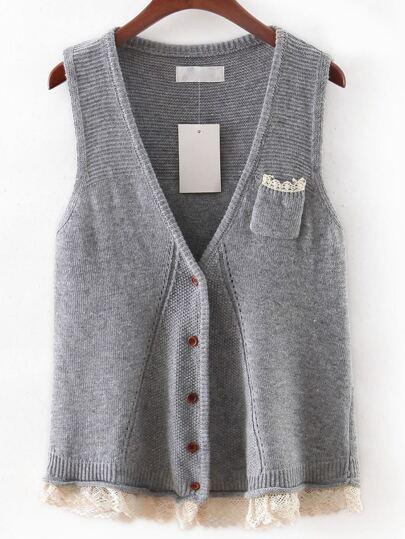 Grey V Neck Crochet Hem Button Sweater Vest