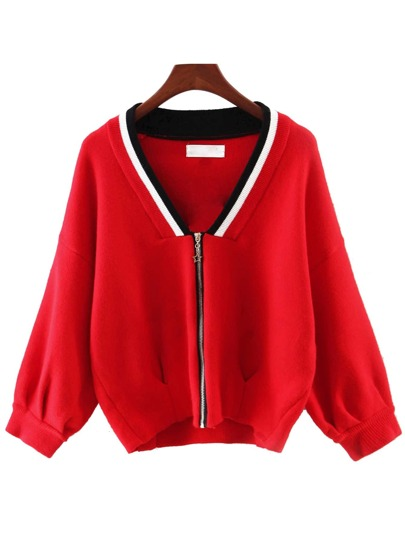 Red V Neck Zipper Front Sweater