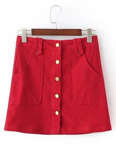 Red Buttons Front Pockets A-Line Skirt