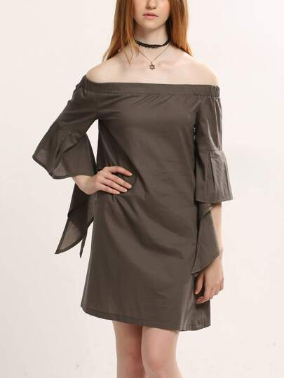 Khaki Ruffle Sleeve Cutout Back Off The Shoulder Dress