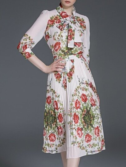 White Tie Neck Floral Top With Pleated Skirt