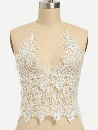 White Lace Crochet Hollow Out Top With Zipper