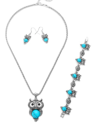 Silver Turquoise Inlay Owl Jewelry Set