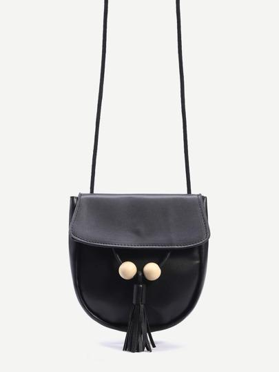 Black Wood Ball and Tassel Trim Saddle Bag
