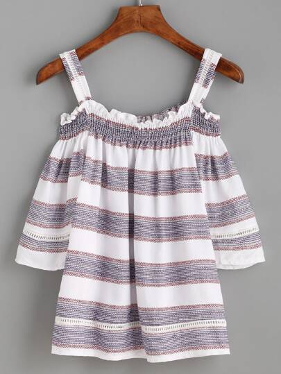 Multicolor Striped Smocked Cold Shoulder Top