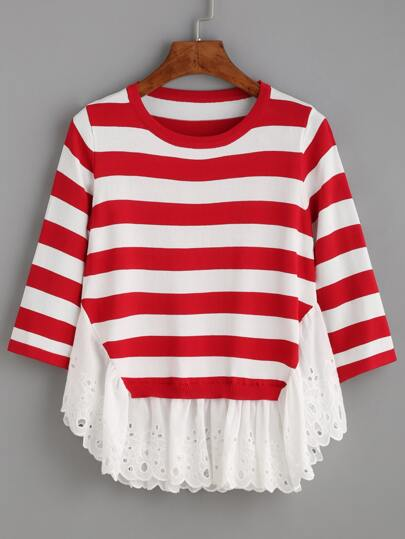 Red White Striped Eyelet Embroidered Trim Knit Top