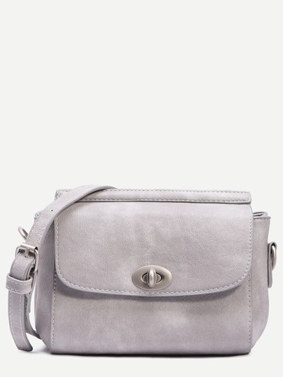 Grey Turnlock Closure Structured Flap Bag